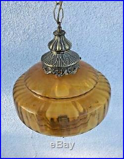 Vintage Amber Glass Hanging Ceiling Swag Lamp Mid Century Modern Orb Light Globe