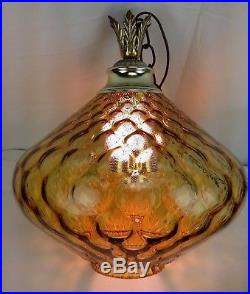 Vintage Amber Glass Hanging Ceiling Swag Lamp Mid Century Orb Light Globe