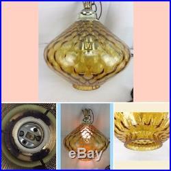 Vintage Amber Glass Hanging Ceiling Swag Lamp Mid Century Orb Light Globe