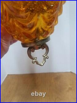 Vintage Amber Glass Hanging Light with Chain MCM Swag Lamp Ceiling Fixture
