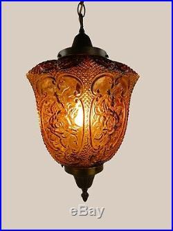 Vintage Amber Glass Hanging Swag Globe Chandelier Light Lamp Fixture Mid Century