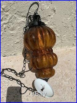 Vintage Amber Glass Swag Lamp Hanging Hollywood Regency Retro Lamp Light Boho