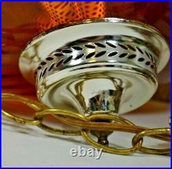 Vintage Amber Glass UFO Shaped Swag Hanging Lamp