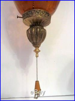 Vintage Amber Gold Crackle Art Glass Hanging Swag Light Lamp Mid Century Modern