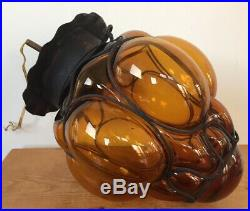 Vintage Amber Mission Blown Glass Grape Bunch Hanging Lamp Light Ceiling Fixture