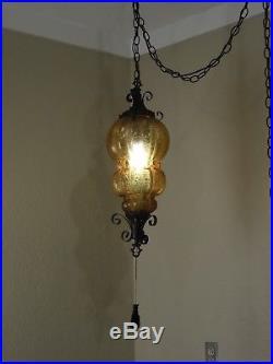 Vintage Amber/Orange Hanging Swag Lamp Light Hollywood Regency Italian Art Glass