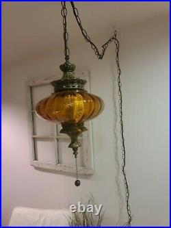 Vintage Amber Swag Pendant Light Hanging UFO MidCentury Glass Globe Lamp Plug In