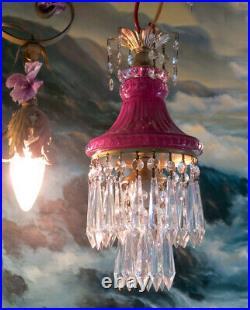 Vintage Amethyst Purple Lady cupcake glass crystal Brass SWAG lamp chandelier