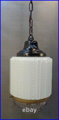 Vintage Antique Art Deco Hanging Skyscraper Ceiling Lamp Chandelier