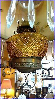 Vintage Antique Bradley & Hubbard B&h Hanging Prism Oil Lamp Amber Glass Font