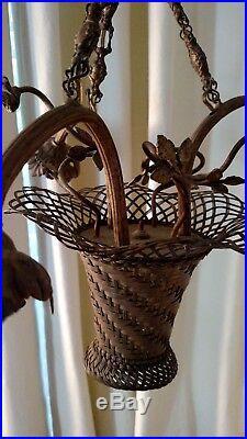 Vintage Antique Brass Hanging Lamp Light Fixture, Estate of Mrs. Nat King Cole