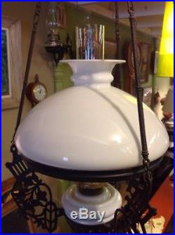 Vintage Antique Cast Iron Ceiling Hanging Oil Lamp & White Milk Glass Font Shade
