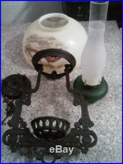 Vintage Antique Cast Iron Hanging Oil Lamp withPheasant Shade NO RESERVE