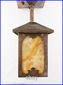 Vintage Antique Copper Arts & Crafts Mission Slag Hanging Lamp Light Fixture