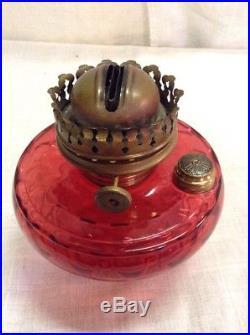 Vintage Antique Cranberry Red Glass Lamp Klipper Burner Font Hanging Sconce
