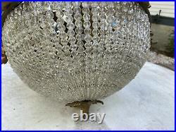 Vintage Antique Czech Style Beaded Glass Hanging Lamp Light Fixture Chandelier