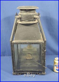 Vintage Antique Early Oil Lamp Hanging Street Light Tin Brass Railroad Lantern