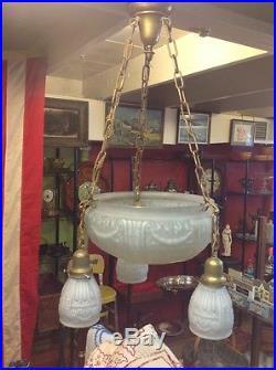 Vintage Antique French Empire 3 Arm Large Basket Glass Hanging Lamp Chandelier