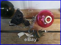 Vintage Antique Hanging Cranberry Font Oil / Paraffin Lamp In Cast Iron Hanger