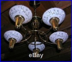 Vintage Antique Mid Century Modern Chandelier Hanging Ceiling Light Lamp Fixture