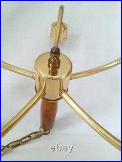 Vintage Antique Moe Light 5 Arm Brass Hanging Ceiling Chandelier Lamp Fixture