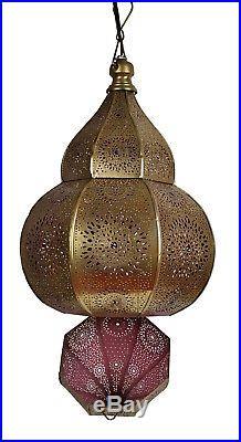 Vintage Antique Moroccan Lamp Pendant Ceiling Light Fixture Hanging Lantern Iron