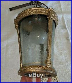 Vintage Antique Porch Hall Foyer Lantern Hanging Light Chandelier w Glass Panels