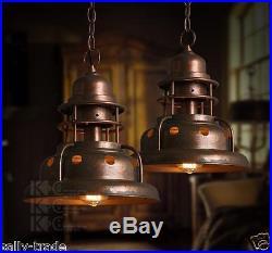 Vintage Antiqued Copper Finish Hanging Pendant Ceiling Lamp Chandelier Light