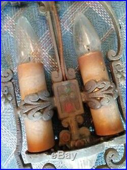 Vintage Art Deco 2 bulb Hanging Lamp Light Cast Iron