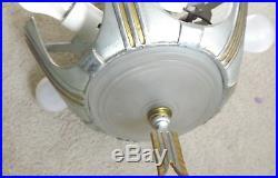 Vintage Art Deco 5 Slip Shade Hanging Lamp Chandelier Silver & Gold