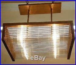 Vintage Art Deco Brass & Glass Rod Ship Wall Ceiling Fixture Hanging Light Lamp