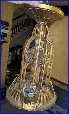 Vintage Art Deco Hanging Light w Amber Bottom Shade Cast Iron Ceiling Lamp