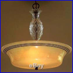 Vintage Art Deco Iridescent Shade Lamp Hanging Chandelier Ceiling Light Fixture