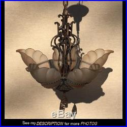 Vintage Art Deco Lamp Frosted Slip Shades Midwest Manufacturing Hanging Fixture