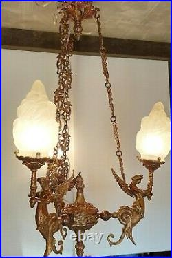 Vintage Art Deco Nouveau Mermaid Hanging Ceiling Fixture Light Chandelier Lamp