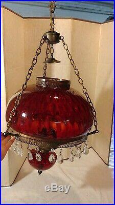 Vintage Art Deco Ruby Red Crystal Hurricane Chandelier Hanging Swag Light Lamp