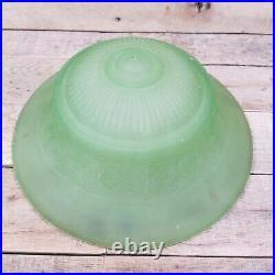 Vintage Art Deco Satin Vaseline Uranium Glass Ceiling Fixture Lamp Light Shade