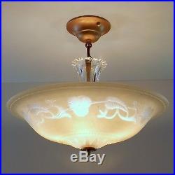 Vintage Art Deco Semi Flush Chandelier Hanging Ceiling Lamp Fixture Light Beige