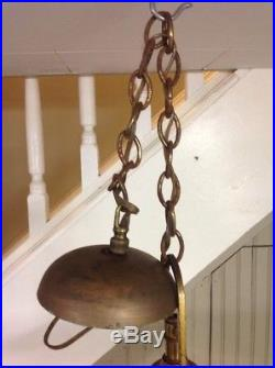 Vintage Art Nouveau Deco 5 Arm Light Hanging Ceiling Lamp With Orange Glass Shades