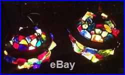 Vintage Arts & Crafts Grotto Chunk Nugget Glass Hanging Lantern Lamp Fixtures