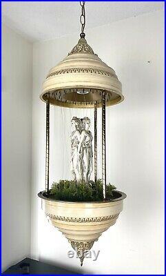 Vintage BIG 36x 14 Oil Rain Hanging Lamp with3 Greek Goddess + Vintage Oil