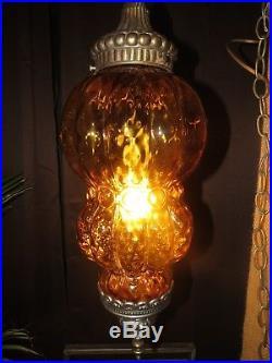 Vintage BOHO Gold Hanging Swag Lamp Light Hollywood Regency Italian Art Glass
