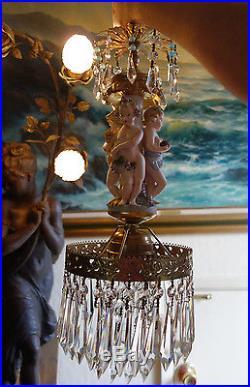 Vintage Bisque Porcelain Cherub grape Brass chandelier Swag hanging crystal lamp