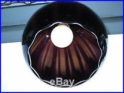 Vintage Black Amethyst Cased Swirl Art Glass Hanging Swag Lamp Light Germany