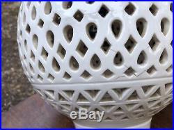 Vintage Blanc de Chine Swag Hanging Mid Century Lantern Lamp