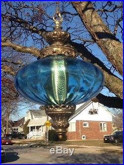 Vintage Blue Glass Swag Hanging Lamp Hollywood Regency Light