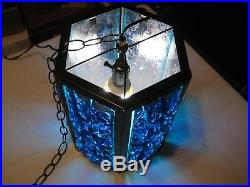 Vintage Blue Retro MID Century Modern Large Lucite Chunk Swag Hanging Lamp