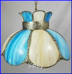 Vintage Blue Slag Stained Glass Hanging Swag Ceiling Lamp Light 8 Panel