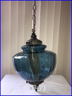 Vintage Blue Swag Lamp Brass Italian Rippled Hanging Lamp