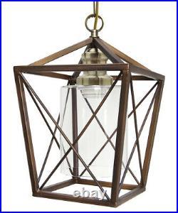 Vintage Brass Glass Shade Hanging Pendant Ceiling Lantern Pub Diner Light M0200